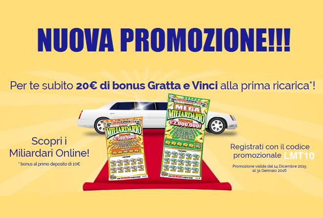 codice sconto lottomatica 20€ gratis