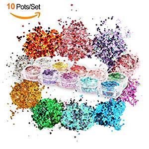 10 glitter da trucco per viso corpo trucco nail Tattoos festival party Ball, 10 serie di colori 9 forme: fiori, cuori, stelle, farfalle, triangoli, cerchio, frecce, foglie, esagonale.